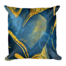 Experimental marble blue and gold cushion