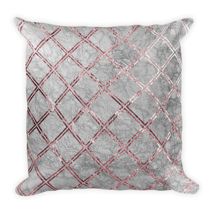Grey and pink marble crosshatch cushion