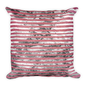 Pink and grey marble stripe cushion