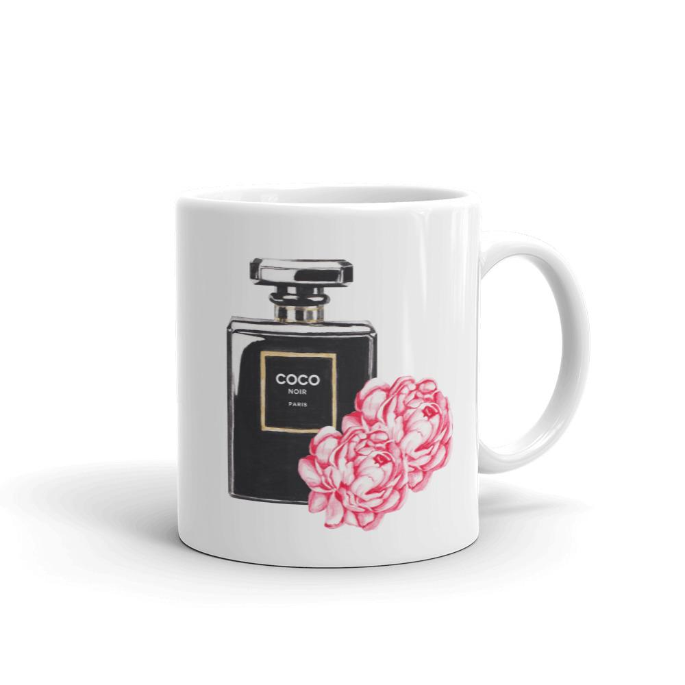 Black perfume flowers watercolour mug