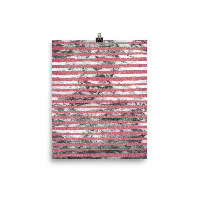 Pink and grey marble stripe print