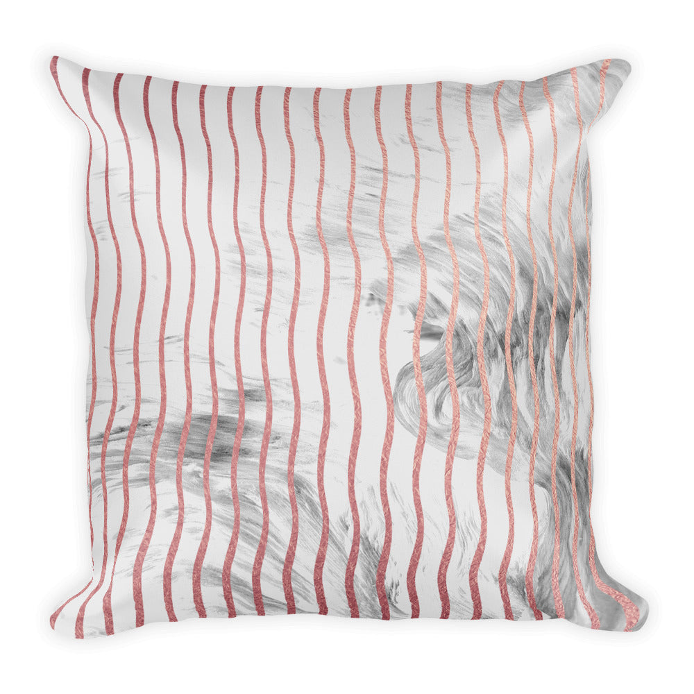 Pink and grey marble waves cushion
