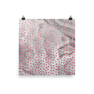 Grey and pink marble dots print
