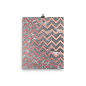 Grey and pink marble zigzag print