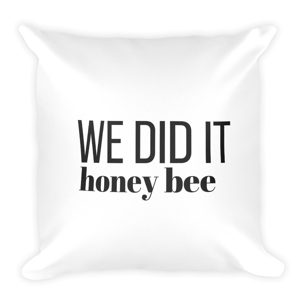 We did it honey bee white cushion