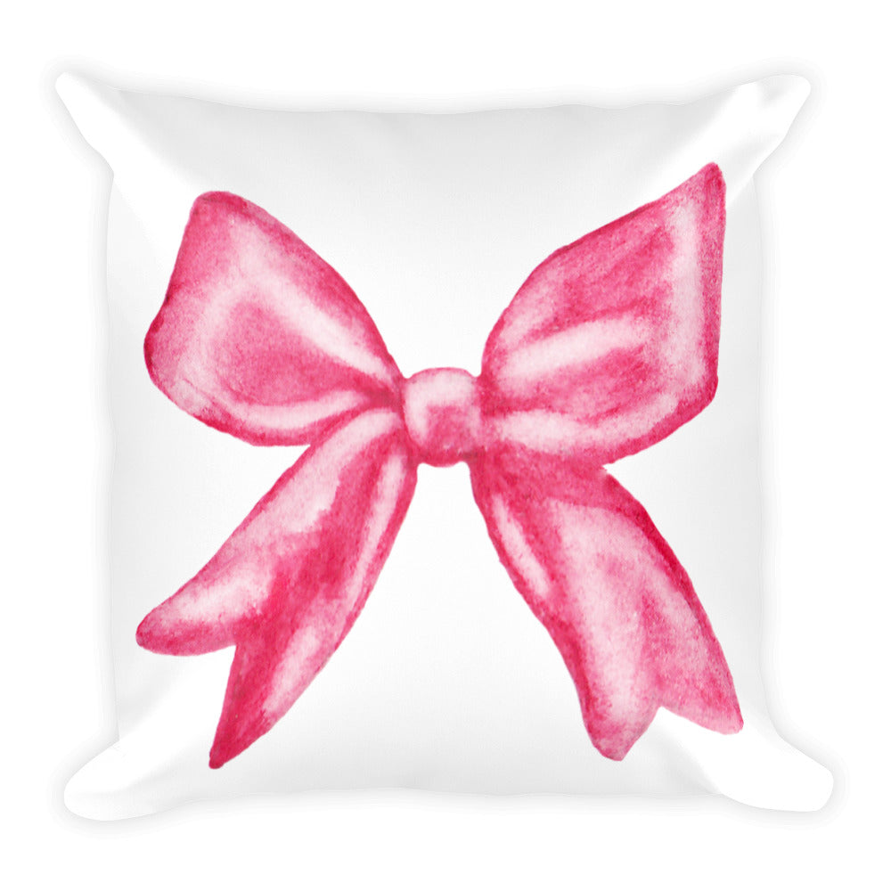 Pink bow watercolour cushion