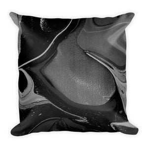 Experimental marble black cushion