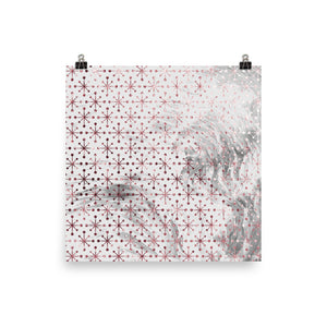 Pink and grey marble snowflake print