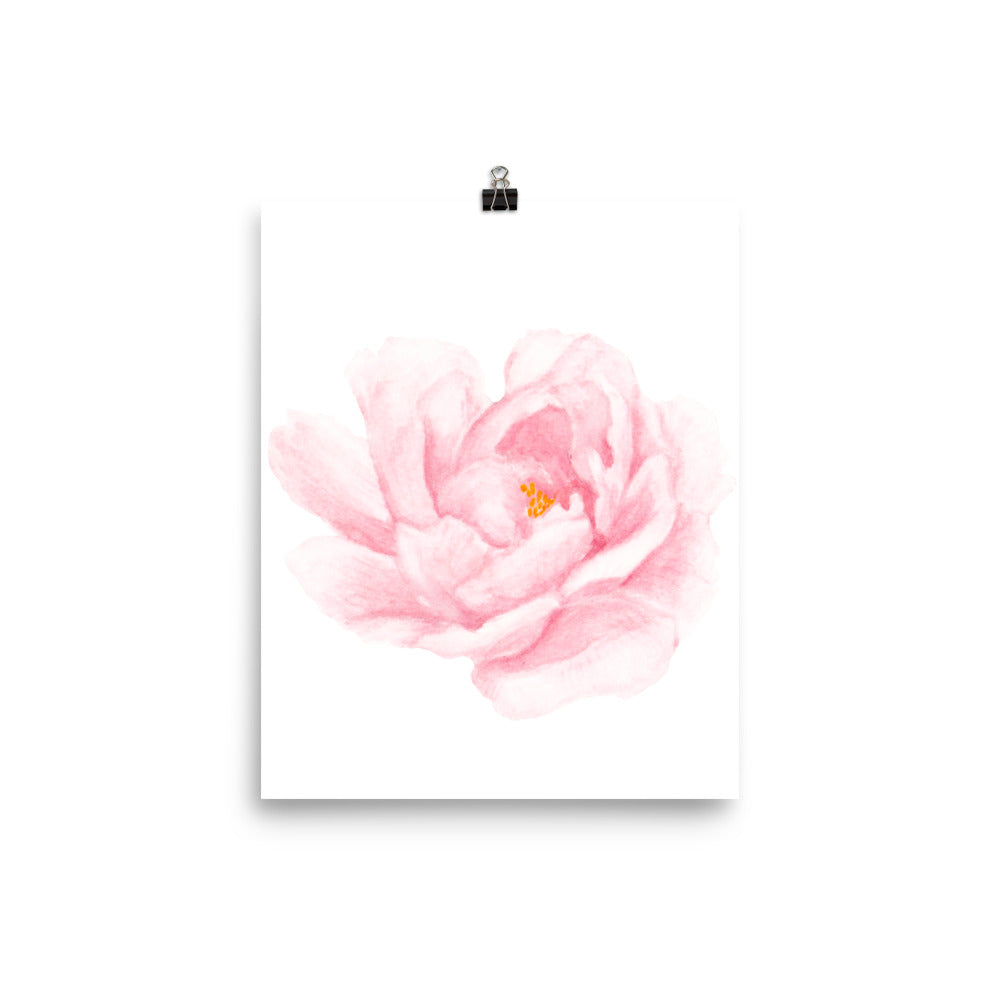 Pink flower watercolour print
