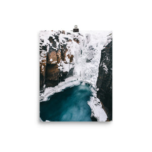 Snowy waterfall print
