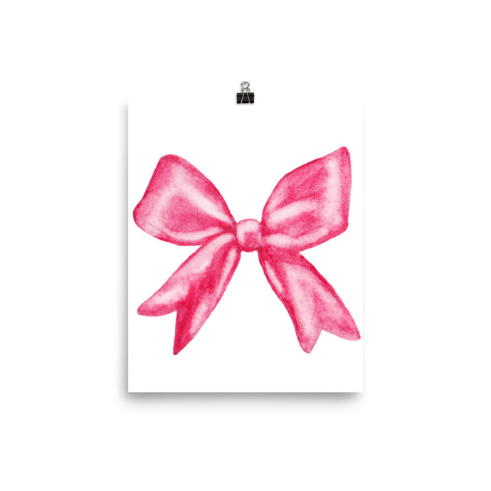 Pink bow watercolour print