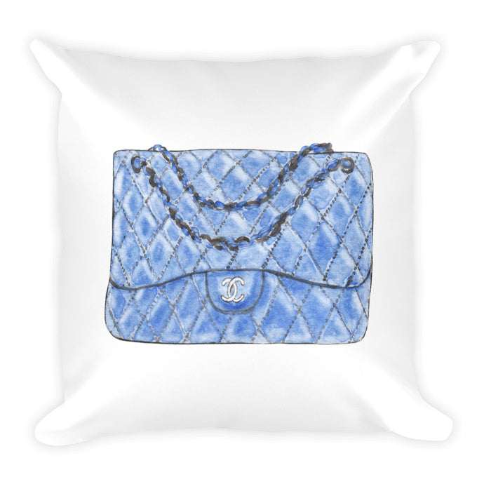 Blue C bag watercolour cushion