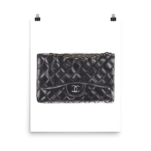 Black C bag watercolour print