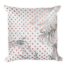 Pink and grey marble dots cushion