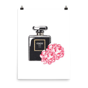 Black perfume flowers watercolour print