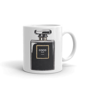Black perfume watercolour mug