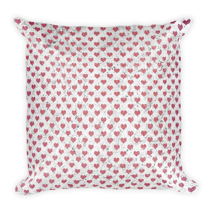 Pink and grey marble hearts cushion