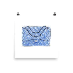 Blue C bag watercolour print