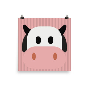 Pink cow face print