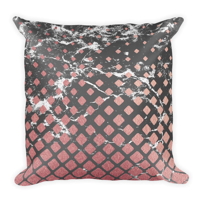 Grey and pink marble cubes cushion