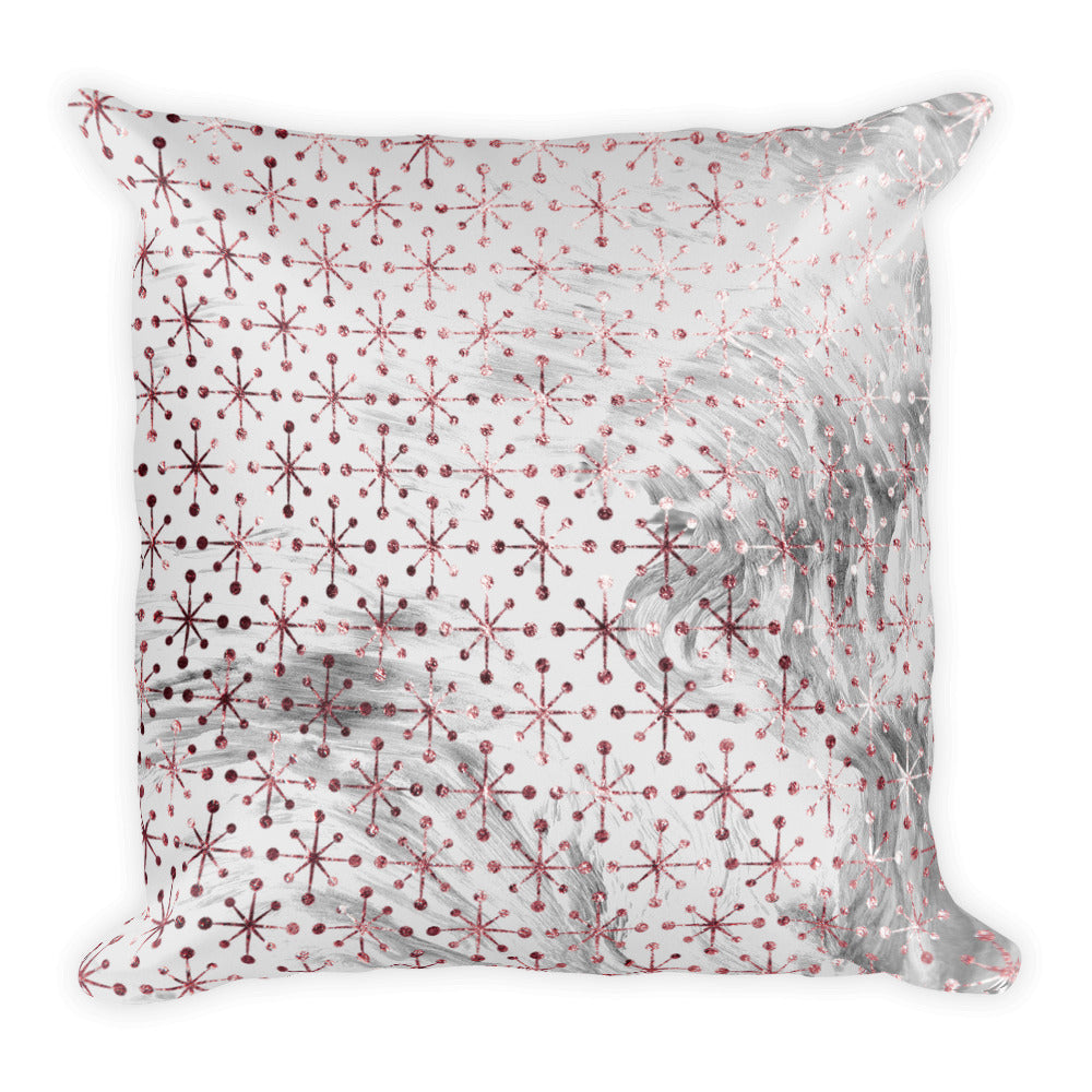 Pink and grey marble snowflake cushion