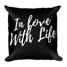 In love with life black cushion - Pretty Ventura