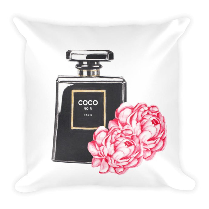 Black perfume flowers watercolour cushion