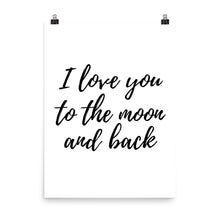 I love you to the moon white print