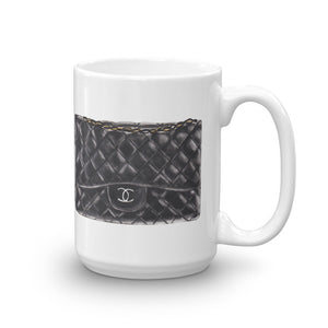 Black C bag watercolour mug