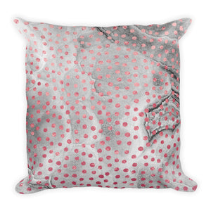 Grey and pink marble dots cushion