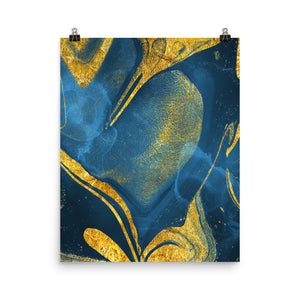 Experimental marble blue and gold print