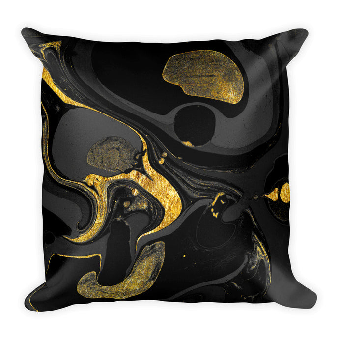 Experimental marble black and gold cushion
