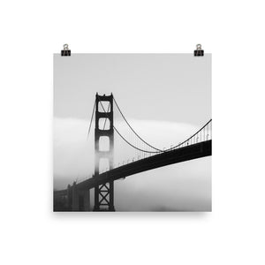 Black and white foggy bridge print