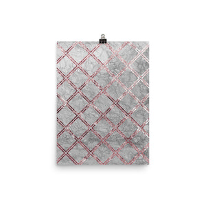 Grey and pink marble crosshatch print
