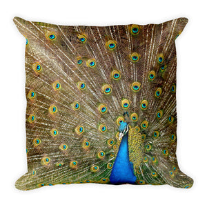 Wild peacock cushion
