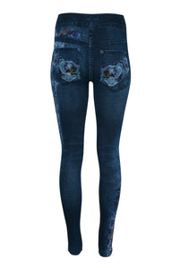 Denim Look Leggings - Roses