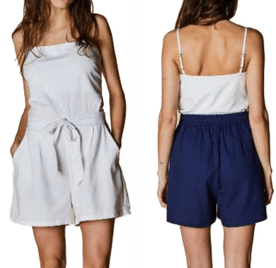 Tie Front Shorts with Elastic Back