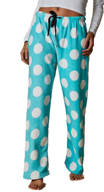 Pyjama Fleece Pants - Turquoise with Spots
