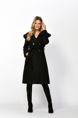 Celina Wide Collar Coat - Black
