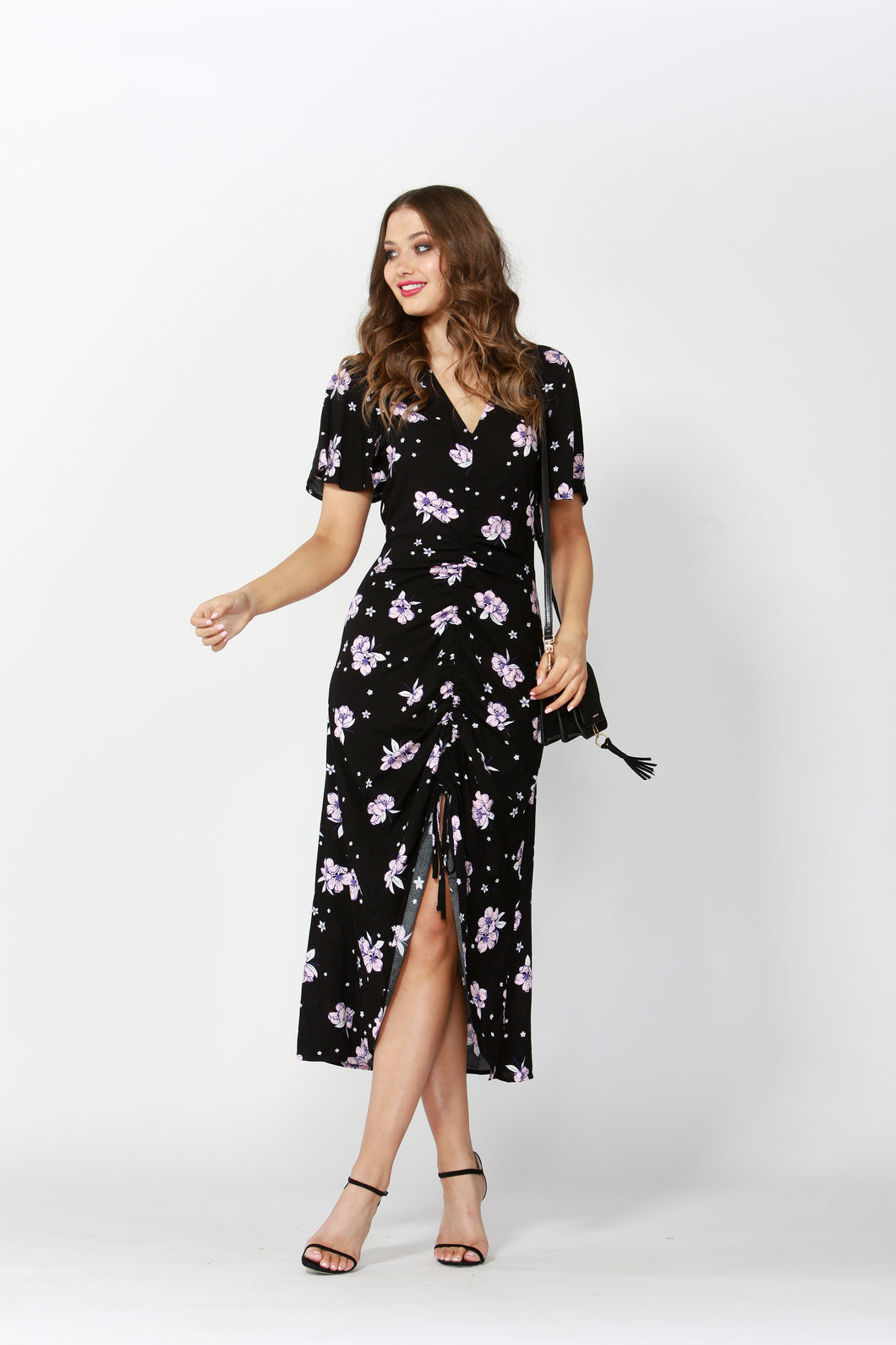 Sass Floral Bouquet Rouched Dress