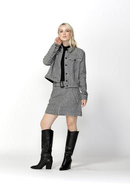 SASS Houndstooth Belted Jacket