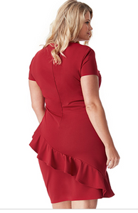 Diagonal Frill Wine Dress Style DR1257