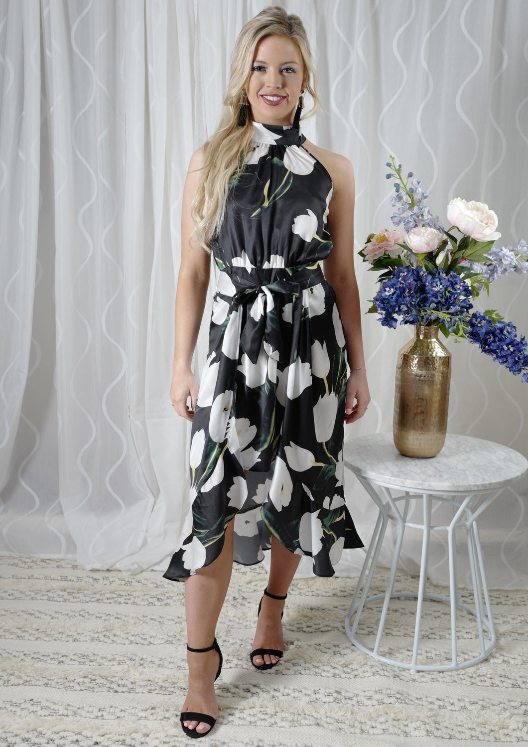 Navy & White Floral Dress