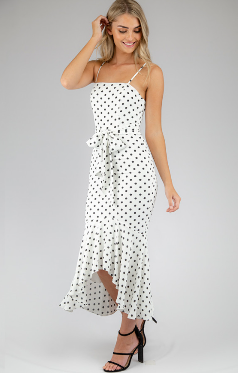 Dotted Singlet Strap Dress - White