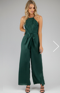 Pleated Halter Neckline Jumpsuit - Green