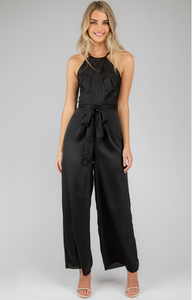 Pleated Halter Neckline Jumpsuit - Black