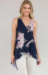 V-Neck Top With Waterfall Frill Hem