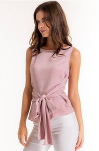 Sleeveless Mauve Top With Belt Details