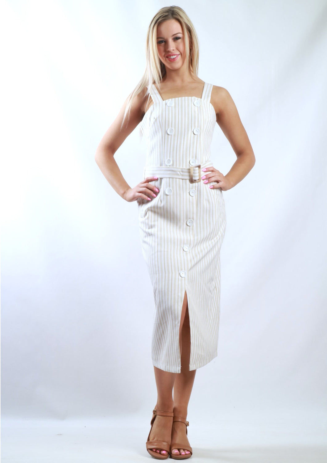 Pin Stripe Midi Dress