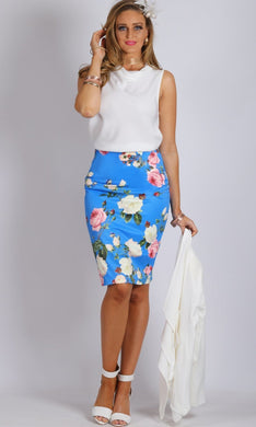 Teaberry Sky Blue Pencil Skirt